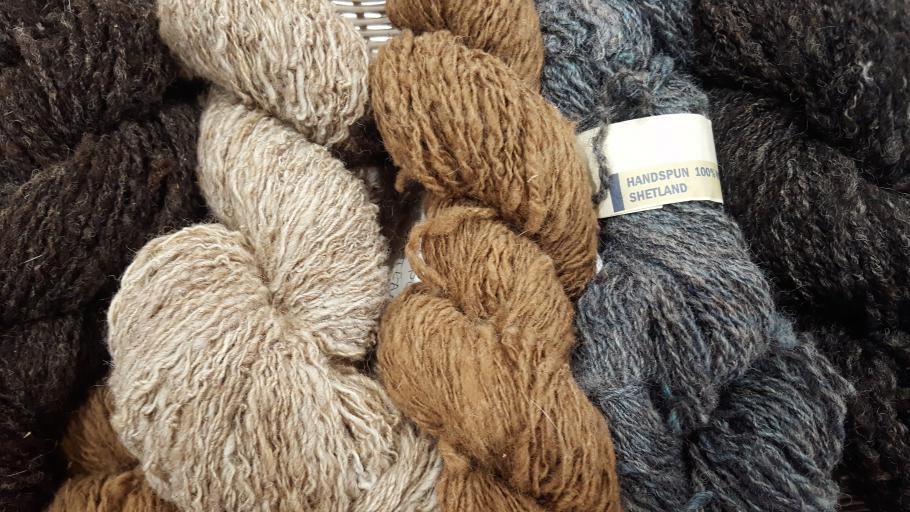 Hand spun Shetland wool at Creative in Callander, Perthshire