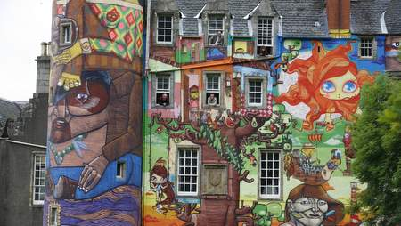 Kelburn Castle with painted facade near Fairlie, North Ayrshire, Scotland.