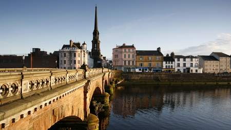 Bridge over the river in Ayr Town
