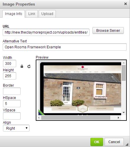 Open Rooms Image Properties