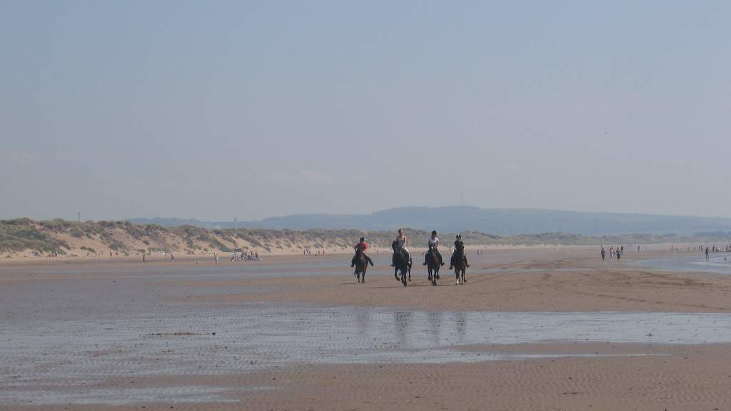 Riding on Lunan Bay Beach