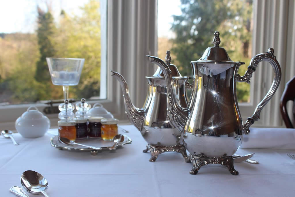 Silver teapots at breakfast at Westerton, Callander