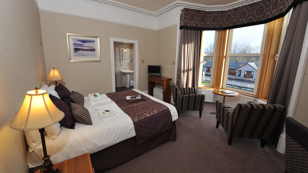 Spacious modern bedrooms at Poppies Hotel in Callander, Scotland