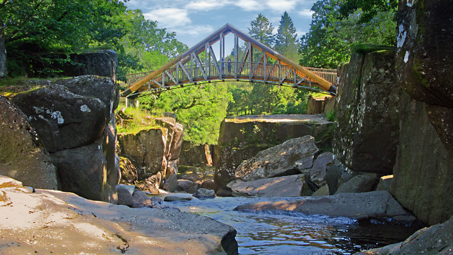 The scenic bridge at Bracklinn Falls, Callander