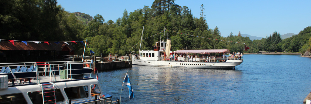 Steam ship Sir Walter Scott on Loch Katrine, the Trossachs