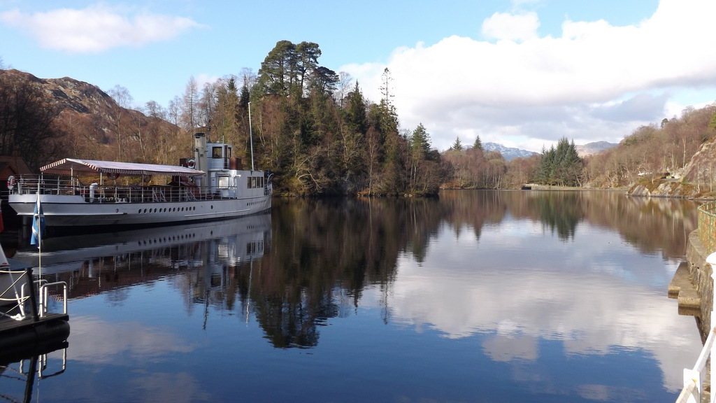 Steam Ship Sir Walter Scott on tranquil Loch Katrine