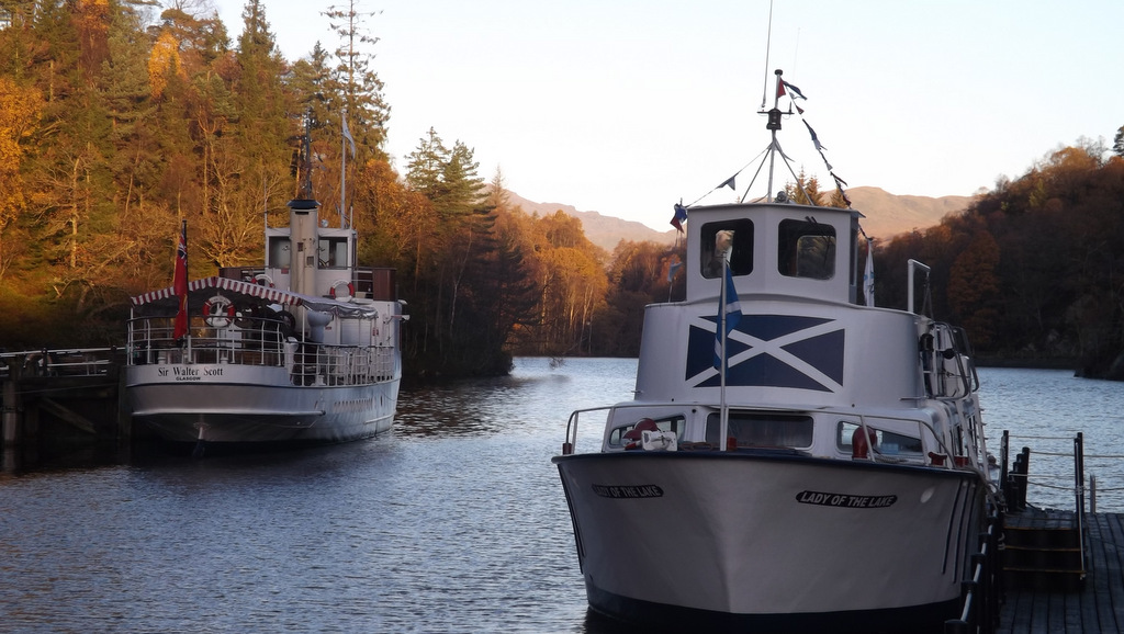 Regular boat trips are available on scenic Loch Katrine, near Callander, Scotland