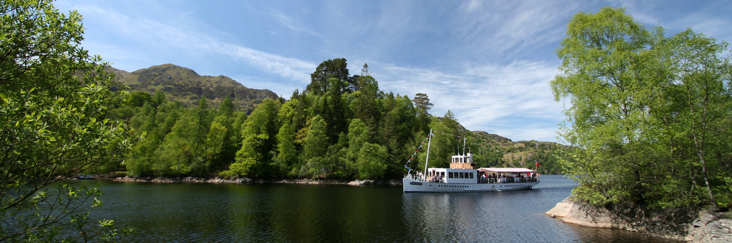 Steam Ship Sir Walter Scott on Lock Katrine, near Callander, Scotland