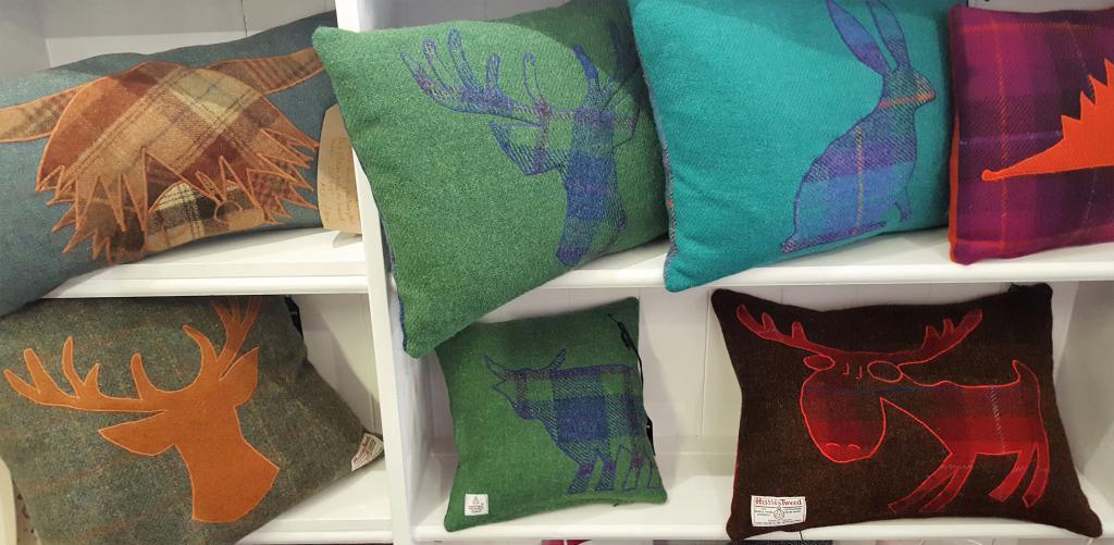 Harris tweed cushions, Callander, Scotland