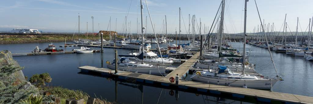 Sailing boats moored at The Marina at Troon Yacht Haven in Ayrshire